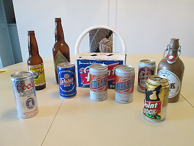 Lot of vintage beer bottles and cans - 15 total
