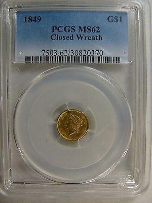 1849 Closed Wreath Gold Dollar PCGS MS 62 Certification # 30820370