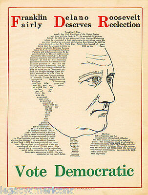 Nifty 1936 Franklin Roosevelt DESERVES REELECTION Composed Type Campaign Poster