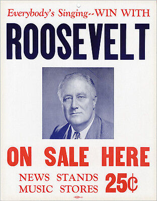 1940 Franklin Roosevelt Campaign Song Sheet Music Advertising Sign