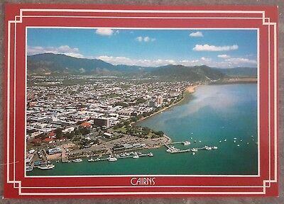 Vintage Postcard North Queensland Cairns Australia Aerial views bay town city