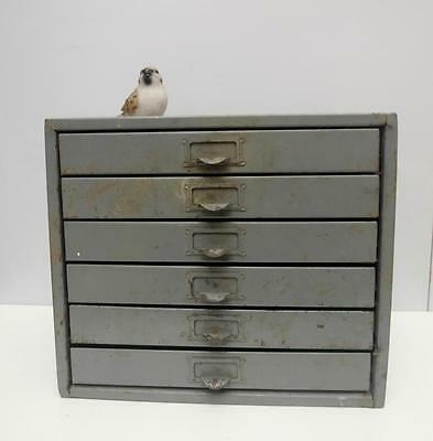 RUSTIC Vintage INDUSTRIAL Metal A4 PAPER Chest of DRAWERS Label FRONTED Adelaide