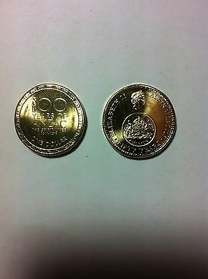 2 Pristine UNC $1 Coins Both From Mint Rolls Anzac+Changeover