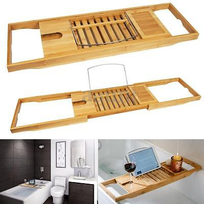 Bathtub Rack Bamboo Shelf Shower Tub Book Reading Tray Holder Stand Expandable
