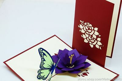 3D Flower & Butterfly Pop up Card Kirigami Popup Card, High Quality Pop up Cards