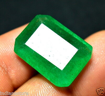 16.00 Ct.Emerald Shape Colombian Rare Green Certified Natural Gemstone For~Ring