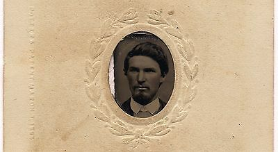 OLD VINTAGE ANTIQUE TINTYPE PHOTO of YOUNG MAN w/ GOATEE BEARD