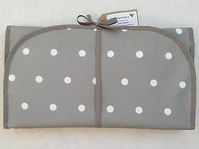 Grey Spot Handmade Oilcloth Baby Wipe Clean Changing Mat
