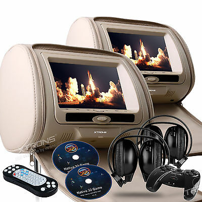 "Dual 7"" Beige Car Headrest Monitors w/DVD Player/USB/HDMI+Games+IR Headphones"