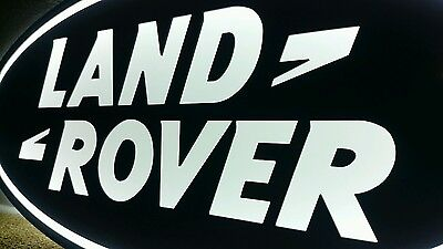Land Rover sign lighted sport car garage racing range Rover 3D