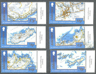 Alderney Maps mnh set issued 1.2.1017