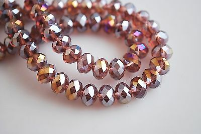 Free Ship AB Wine Red 6mm Faceted Rondelle Bicone Jewelley Crafts Glass Crystal