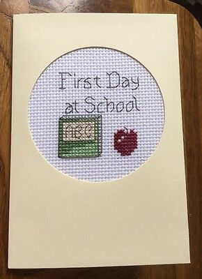 Completed Cross Stitch Card First Day At School 4x6 Inch