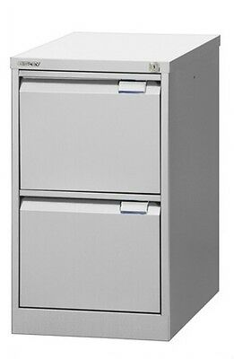 Bisley steel Filing Cabinet BS 2 Drawer LIGHT GREY foolscap new
