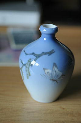 Vintage Porcelain : A Royal Copenhagen Vase decorated with butterfly