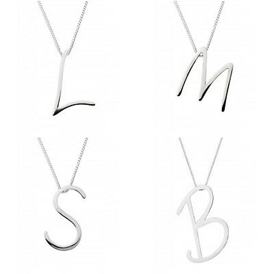 Silver Initial Pendant Necklace Large Script Style 925 Sterling Silver Initials