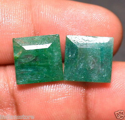 Natural 16.00 Ct.Emerald Cut Green Zambian Emereald Pair Quality Gemstone