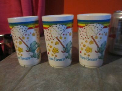 Set of 3 Vintage CARE BEARS Cups