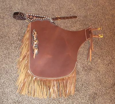 Custom Made Western Chinks Leather /  NEW    Chaps buck stitched