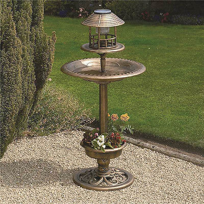 Solar Powered LED Garden Light Bird Bath Feeder Outdoor Planter Kingfisher