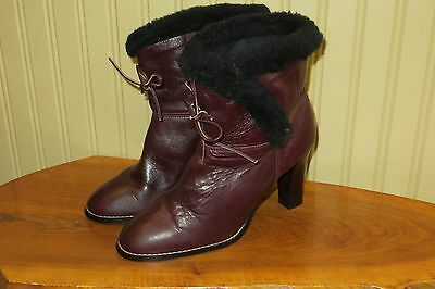 Vintage 70s Brown Leather High Heel Womens Fleece Lined Boots, 7.5 M