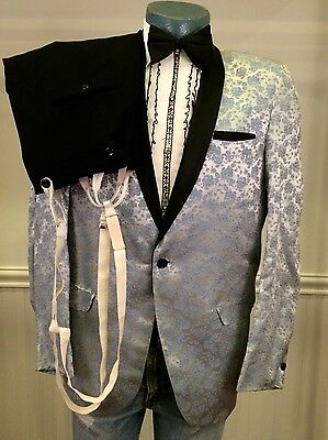 First Nighter Mens 40 Vintage 60s Silver/Blue Floral Satin Single Button Tuxedo