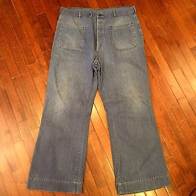 US Navy WWII USN Mens 38 x 31 Selvedge Denim Button Fly Deck Work Jeans