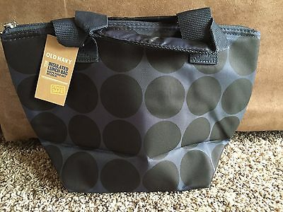 Nwt Old Navy Insulated Lunch Tote Bag  Blue Large W/handle And Zip Close Top