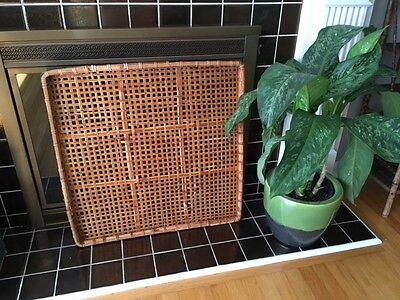 Large Vintage mid century modern Bohemian Wicker/wood/rattan Tray/wall hanging