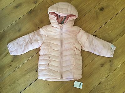 Mothercare Girls Light pink padded Winter coat Age 3 Yrs BNWT Heart Detail