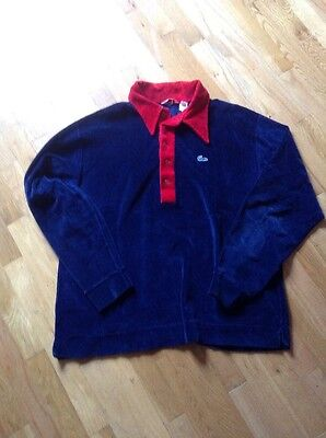 Vtg 70s Izod Blue Cotton Velour Shirt XL Red Blue Mod Made In USA FREE SHIPPING