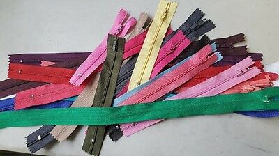 "lot of 100 Assorted wholesale mix different colors nylon zippers 4"" to 19"""
