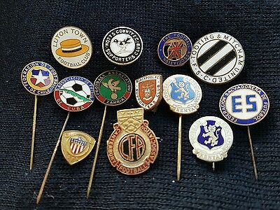 13  x  Old  Football  Badges  -  Buttonhole  Supporters  Club  Association