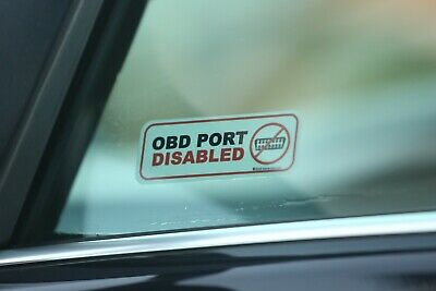 2 x OBD PORT DISABLED window stickers deter keyless entry comfort access theft