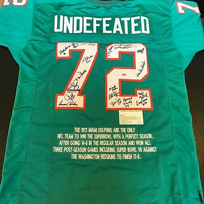 1972 MIAMI DOLPHINS Team Signed Undefeated Jersey 18 Signatures Leaf  for cheap