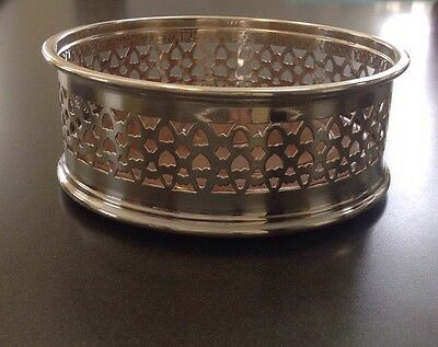 Vintage Pilgrim Silverplate and Wood Wine/Champagne Coaster