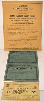 1950-52 wholesale & retail liquor tax stamps + licenses, Concord MA