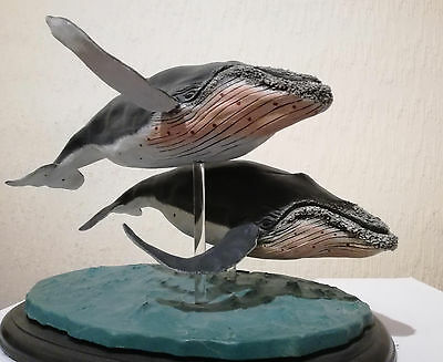 Blue Humpback whale sculpture by J Noble