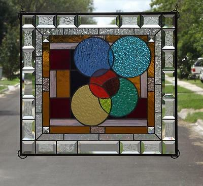 "•AROUND-WE GO !•Beveled Stained Glass Window Panel • 23 1/2""- 20 1/2"""