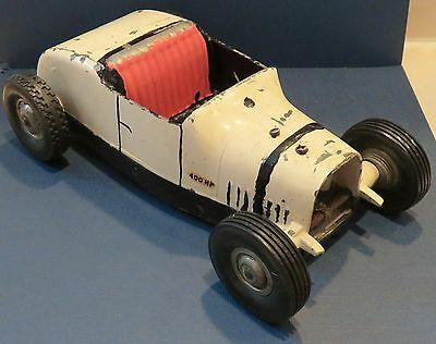 Vintage All American Hot Rod Tether Car Racer, Toy Vehicle, Off White