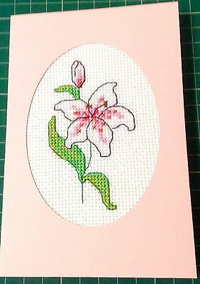 Pink Lily...completed cross stitch card...any occasion