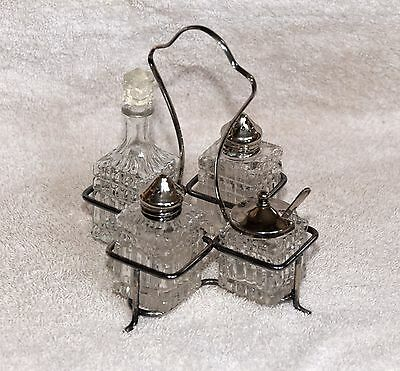 Vintage English Silverplate & Cut Glass Condiment Set with Holder
