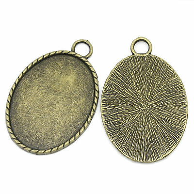 10 Antique Bronze Tone Oval Cabochon Frame Settings - 51mm x 34mm - UK SELLER