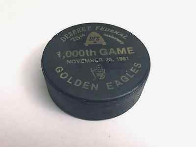Vintage Hockey Puck Golden Eagles 1000th game 1981 -Very Rare-