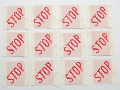 Vintage Stop Sew on Patch Small 1.5 x 1.5  Square Red White Lot of 12 B10