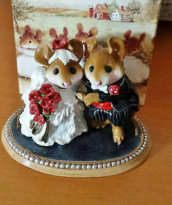 """Wee Forest Folk """"The Wedding Pair"""" M-200  white dress/red flowers Mint"""
