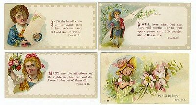 BIBLE VERSES on 4 Victorian Cards 1880's Little Boys and Girls and Flowers
