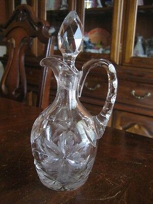AMERICAN BRILLIAN CUT GLASS CRUET with STOPPER