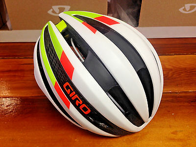 Giro Synthe MIPS  - Matte White/Lime/Flame - Cycling Helmet