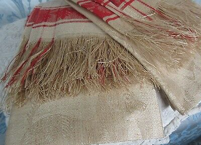 2 Antique Turkey Red Linen Damask Towel Figural Dogs Large Hand or Bath 18x37""